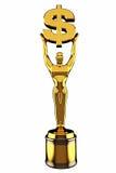 3d odpłacają się Złotego Dolarowego znaka trofeum Obrazy Royalty Free