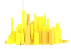 3d odpłacająca się żółta linia horyzontu odizolowywająca Obraz Royalty Free
