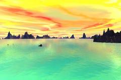 3d odpłacająca się fantazi obca planeta Niebo i morze Obrazy Royalty Free