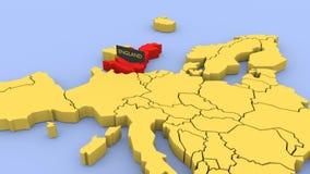 3D odpłacająca się mapa Europa, skupiająca się na Anglia ilustracja wektor