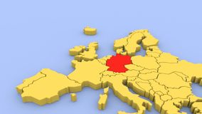 3D odpłacająca się mapa Europa, skupiająca się na Grecja ilustracja wektor