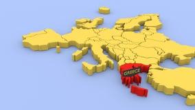 3D odpłacająca się mapa Europa, skupiająca się na Grecja royalty ilustracja
