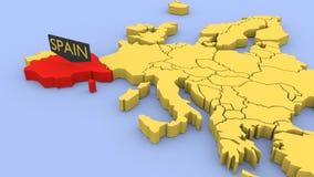 3D odpłacająca się mapa Europa, skupiająca się na Hiszpania ilustracji