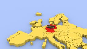 3D odpłacająca się mapa Europa, skupiająca się na Niemcy ilustracji