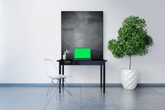 3D odpłacający się miejsce pracy z pustym chalkboard Zdjęcia Stock