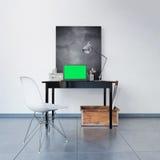 3D odpłacający się miejsce pracy z pustym chalkboard Fotografia Royalty Free