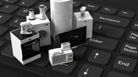 3d odpłaca się domowych urządzenia na klawiaturze Zdjęcie Stock