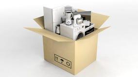 3d odpłaca się domowych urządzenia w chodzenia pudełku Zdjęcia Stock