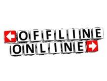 3D Off-line Online Knoop klikt hier Bloktekst Royalty-vrije Stock Foto