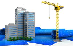 3d office building construction. 3d illustration of living quarter over white background Stock Photos