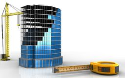 3d of office building construction. 3d illustration of office building construction with crane over white background Stock Photography