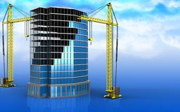 3d of office building construction. 3d illustration of office building construction with crane over sky background Stock Photos
