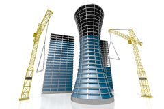3D office buildings, construcion site. 3D office buildings, cranes - great for topics like construction site etc Royalty Free Stock Photography