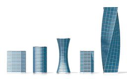 3D office buildings/ skyscrapers. On white background - great for topics like corporate business/ finance/ banking etc Stock Image