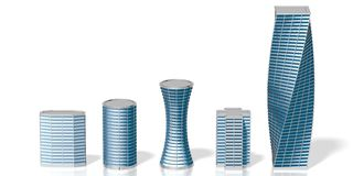 3D office buildings/ skyscrapers. On white background - great for topics like corporate business/ finance/ banking etc Royalty Free Stock Photography