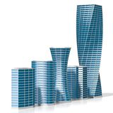 3D office buildings/ skyscrapers. On white background - great for topics like corporate business/ finance/ banking etc Royalty Free Stock Photos