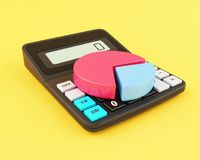 3d Office calculator and pie chart. 3d illustration. Office calculator and pie chart. Business finance and banking concept Stock Image