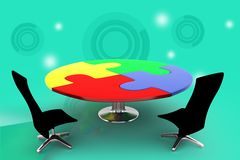 3d office chair and table illustration Royalty Free Stock Images