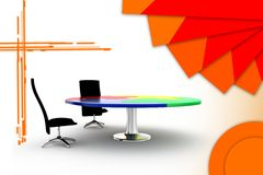 3d office chair and table illustration Stock Image