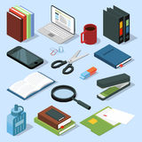 3d office equipment isometric set. Books, folders, pencils and other stationery. Vector illustrations isolate. Folder and stapler, magnifying glass and book Royalty Free Stock Photos