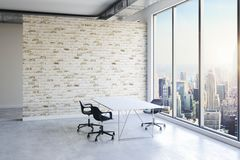 3d office interior with big windows and view royalty free stock image