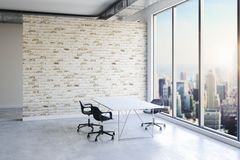 3d office interior with big windows and view stock image