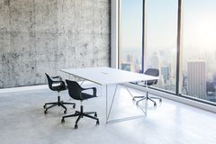 3d office interior with big windows and view. 3d office interior with big windows and nice view royalty free illustration