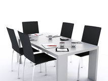 3d Office meeting room with office accessories. Royalty Free Stock Photography