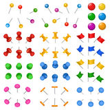3d office stationery buttons holder drawing-pin thumbtack vector supply paper or board pins.  Royalty Free Stock Photos