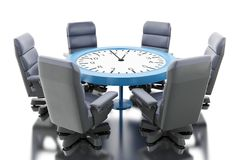 3d Office table as clock with armchairs. 3d illustration. Office table as clock with armchairs. Business meeting concept. Isolated white background Stock Images