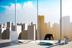 3d office workplace with skyline in the background Stock Photo