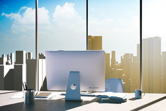 3d office workplace with skyline in the background Stock Images