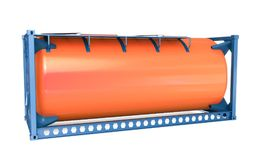 3d offshore oil tank, orange container. On white background 3D illustration stock illustration
