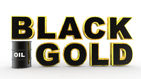 3d oil barrel and black gold text Stock Images