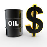 3d oil barrel and golden dollar symbol. 3d render of oil barrel and golden dollar symbol vector illustration