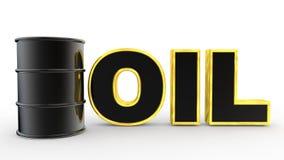 3d oil barrel and golden text. 3d render of oil barrel and golden text stock illustration