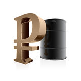 3d oil barrel and ruble sign Stock Image