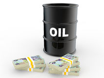 3d oil barrel and UAE dirhams Royalty Free Stock Photo
