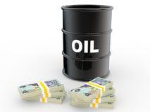 3d oil barrel and UAE dirhams Royalty Free Stock Photo