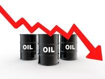 3d oil barrels and decreasing arrow Stock Photos