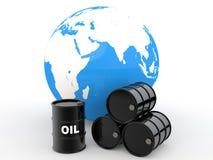 3d oil barrels and earth globe. 3d render of black oil barrels and earth globe Royalty Free Stock Photos