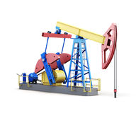 3d oil pump-jack isolated on white background Stock Photos