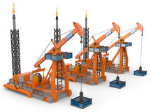 3d Oil Pump jacks Royalty Free Stock Photography