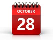 3d 28 oktober-kalender Royalty-vrije Stock Afbeeldingen