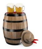 3D oktoberfest桶 啤酒杯 传统的帽子 图库摄影