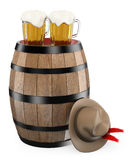 3D oktoberfest. Barrel. Mug of beer. Traditional hat. White background Stock Photography