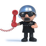 3d Old biker answers the phone. 3d render of an old biker holding a red telephone handset Royalty Free Stock Images