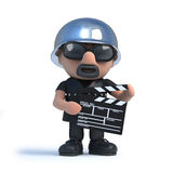 3d Old biker makes a movie. 3d render of an old biker holding a movie making clapperboard Royalty Free Stock Photo