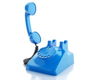 3d Old blue phone. Communication concept. Stock Image