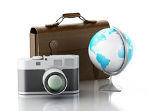 3d Old brown suitcase, camera and globe. Royalty Free Stock Image